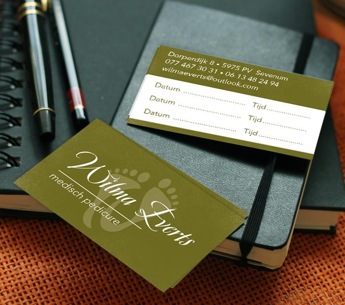 Ontwerp drukwerk visitekaartjes en afsprakenkaartjes pedicure