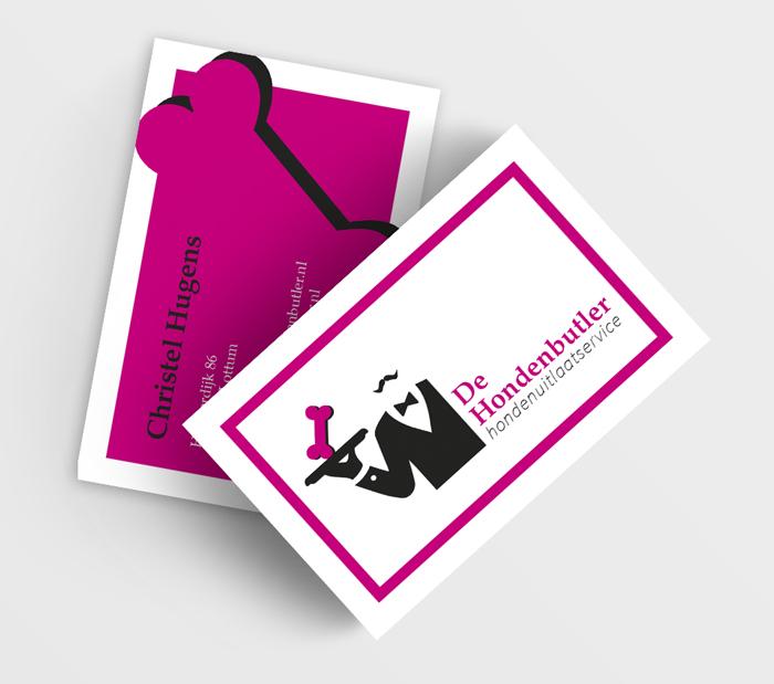 visitekaartjes ontwerp drukwerk roze hondenuitlaatservice